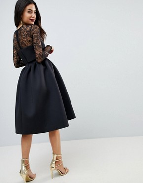 photo Lace Long Sleeve Crop Top Prom Dress by ASOS, color Black - Image 2