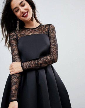 photo Lace Long Sleeve Crop Top Prom Dress by ASOS, color Black - Image 3