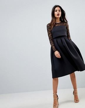 photo Lace Long Sleeve Crop Top Prom Dress by ASOS, color Black - Image 1