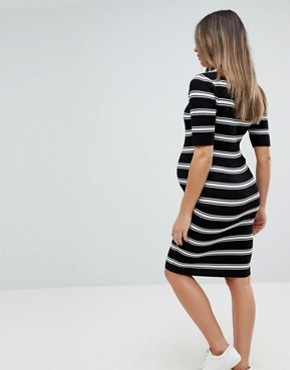 photo Knitted Stripe Midi Dress by New Look Maternity, color Black Pattern - Image 2