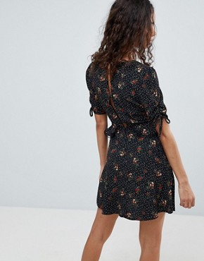photo Star Print Tea Dress by New Look Petite, color Black Pattern - Image 2