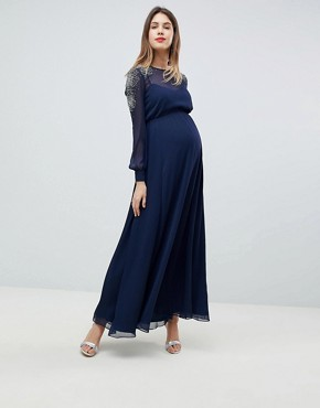 photo Maternity Sheer Sleeve Maxi Dress with Embellished Shoulder Detail by ASOS DESIGN, color Navy - Image 1