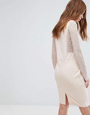 photo Long Sleeve Lace Dress by Oeuvre, color Apricot - Image 2
