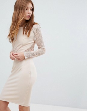 photo Long Sleeve Lace Dress by Oeuvre, color Apricot - Image 1
