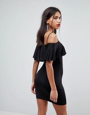 photo Slinky Bodycon Mini Dress with Ruffle by ASOS, color Black - Image 2