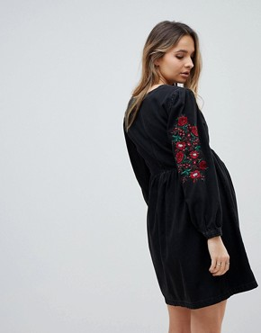 photo Maternity Denim Smock Dress in Washed Black with Embroidery by ASOS DESIGN, color Washed Black - Image 2