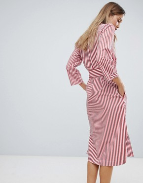 photo Polina Belted Stripe Shirt Dress by in Wear, color Red And White Stripe - Image 2