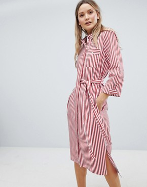 photo Polina Belted Stripe Shirt Dress by in Wear, color Red And White Stripe - Image 1