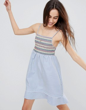 photo Sandra Cami Dress with Multi-colour Shirring by Brave Soul, color Blue/White - Image 1