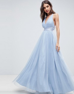 photo Tulle Maxi Prom Dress with Ribbon Ties by ASOS PREMIUM, color Dusky Blue - Image 2
