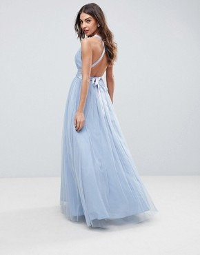 photo Tulle Maxi Prom Dress with Ribbon Ties by ASOS PREMIUM, color Dusky Blue - Image 1
