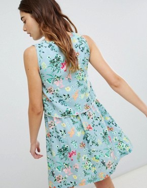 photo Celeste Double Layer Floral Dress with Pom Pom Trim by Brave Soul, color Light Blue - Image 2