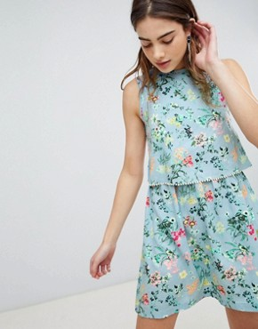 photo Celeste Double Layer Floral Dress with Pom Pom Trim by Brave Soul, color Light Blue - Image 1