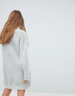 photo High Neck Knitted Jumper Dress by Bershka, color Grey - Image 2