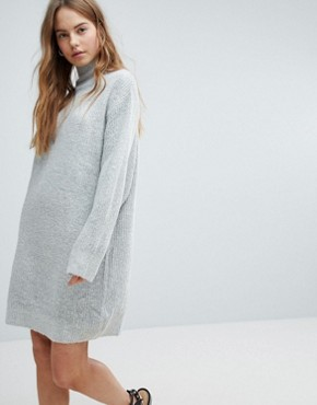 photo High Neck Knitted Jumper Dress by Bershka, color Grey - Image 1