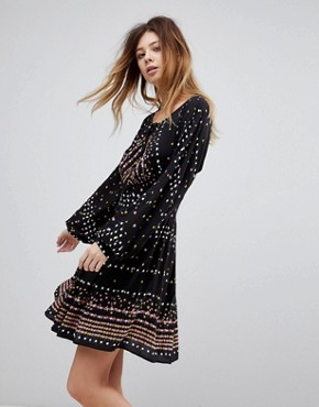 photo Coryn Printed Skater Dress by Free People, color Black Combo - Image 1