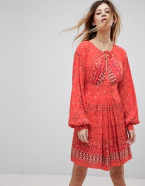 photo Coryn Printed Skater Dress by Free People, color Red Combo - Image 1