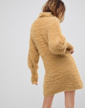 photo Honey Roll Neck Jumper Dress with Mutton Sleeves by Free People, color Beige - Image 2