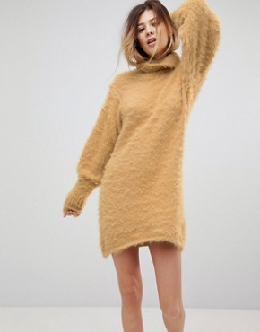 photo Honey Roll Neck Jumper Dress with Mutton Sleeves by Free People, color Beige - Image 1