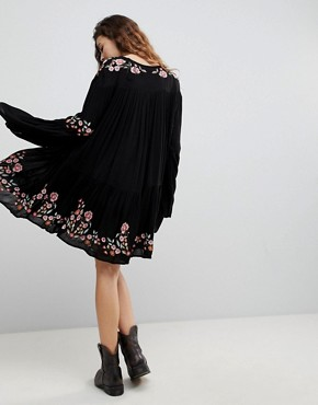 photo Te Amo Flared Sleeve Mini Dress by Free People, color Black Combo - Image 2