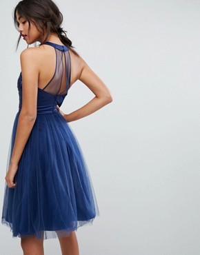 photo Tulle Midi Dress with Lace Detail by Chi Chi London, color Navy - Image 2
