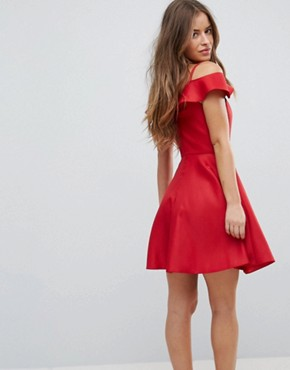photo Mini Skater Prom Dress with Cold Shoulders by Chi Chi London Petite, color Red - Image 2