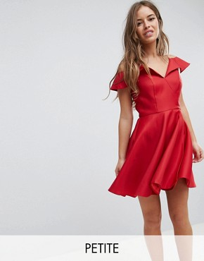 photo Mini Skater Prom Dress with Cold Shoulders by Chi Chi London Petite, color Red - Image 1