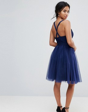 photo Tulle Midi Dress with Lace Detail by Chi Chi London Petite, color Navy - Image 2