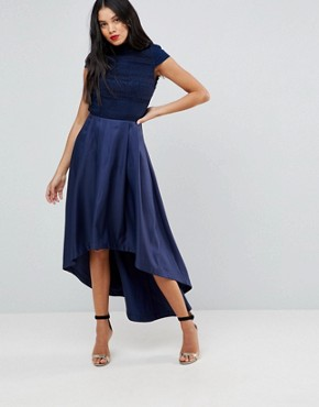 photo High Low Midi Dress with Open Back by Chi Chi London Tall, color Navy - Image 2