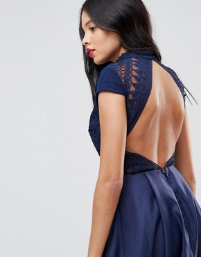 photo High Low Midi Dress with Open Back by Chi Chi London Tall, color Navy - Image 3
