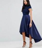 photo High Low Midi Dress with Open Back by Chi Chi London Tall, color Navy - Image 4