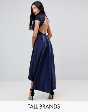photo High Low Midi Dress with Open Back by Chi Chi London Tall, color Navy - Image 1