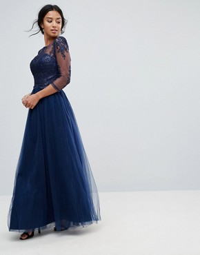 photo High Neck Maxi Dress with Cut Out Lace Back Detail by Chi Chi London Petite, color Navy - Image 2