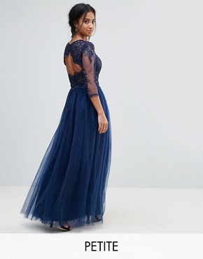 photo High Neck Maxi Dress with Cut Out Lace Back Detail by Chi Chi London Petite, color Navy - Image 1