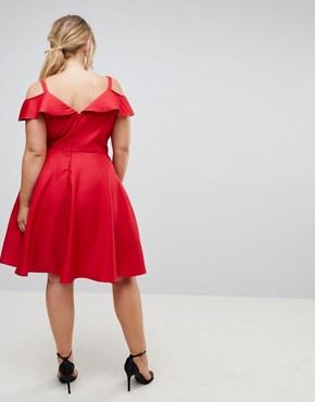 photo Midi Skater Dress with Cold Shoulders by Chi Chi London Plus, color Red - Image 2