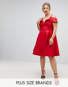 photo Midi Skater Dress with Cold Shoulders by Chi Chi London Plus, color Red - Image 1