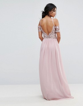 photo Halter Maxi Dress with Off Shoulder Lace Detail by Chi Chi London Petite, color Pink - Image 2