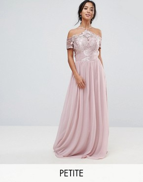 photo Halter Maxi Dress with Off Shoulder Lace Detail by Chi Chi London Petite, color Pink - Image 1
