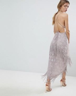 photo Lace Fringe Cut Away Midi Dress with Strappy Back by ASOS, color Mink - Image 2
