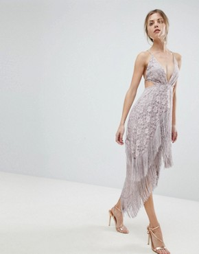 photo Lace Fringe Cut Away Midi Dress with Strappy Back by ASOS, color Mink - Image 1