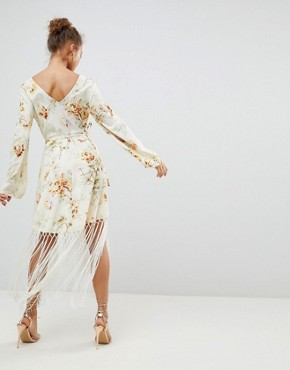 photo Wrap Dress in Floral Print with Fringe Detail by ASOS DESIGN, color Floral Print - Image 2
