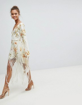 photo Wrap Dress in Floral Print with Fringe Detail by ASOS DESIGN, color Floral Print - Image 4