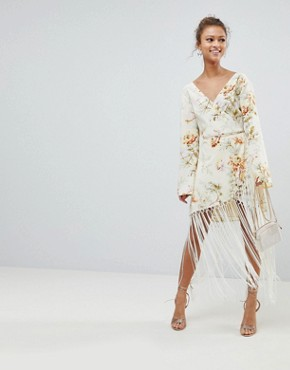 photo Wrap Dress in Floral Print with Fringe Detail by ASOS DESIGN, color Floral Print - Image 1
