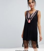 photo Tassel Detail Beach Dress by Akasa, color Black - Image 1