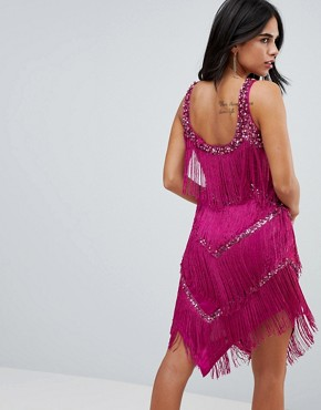 photo Tassel Strappy Mini Dress by A Star Is Born, color Pink - Image 2