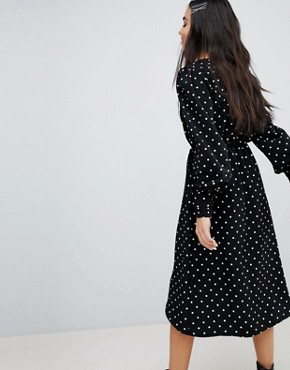 photo Polka Dot Wrap Front Dress by Monki, color Polka Dot - Image 2