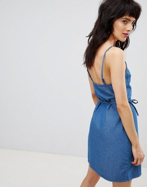 photo Denim Wrap Slip Dress in Midwash Blue by ASOS DESIGN, color Blue - Image 2
