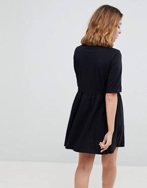 photo Mini Ultimate Cotton Smock Dress by ASOS PETITE, color Black - Image 2