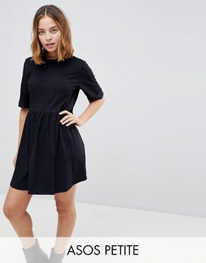 photo Mini Ultimate Cotton Smock Dress by ASOS PETITE, color Black - Image 1