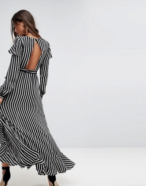 photo Long Sleeve Ruffle Wrap Tea Maxi Dress in Stripe by ASOS, color Multi - Image 2